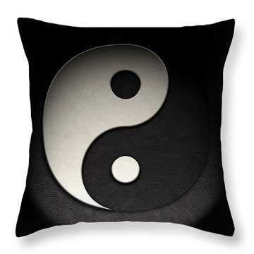 Throw Pillow featuring the photograph Yin Yang Symbol Leather Texture by Brian Carson