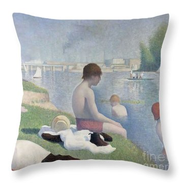 Bathers At Asnieres Throw Pillow