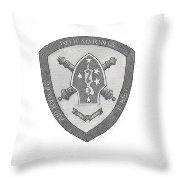 Throw Pillow featuring the painting 10th Marines Crest by Betsy Hackett