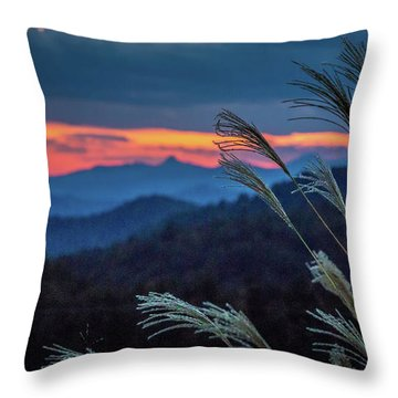 Throw Pillow featuring the photograph Sunset Over Peaks On Blue Ridge Mountains Layers Range by Alex Grichenko