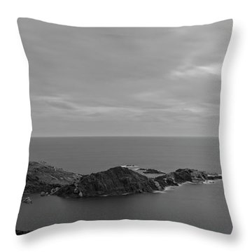 Dawn In Black And White In The Cap De Creus Throw Pillow