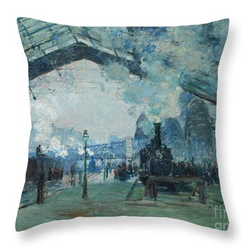 Throw Pillow featuring the digital art Arrival Of The Normandy Train, Gare Saint-lazare by Claude Monet