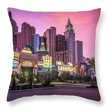 Throw Pillow featuring the photograph New York City Skyline In Las Vegas Nevada by Alex Grichenko