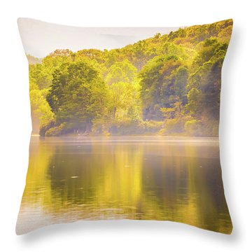 Throw Pillow featuring the photograph Julian Price Lake, Along The Blue Ridge Parkway In North Carolin by Alex Grichenko