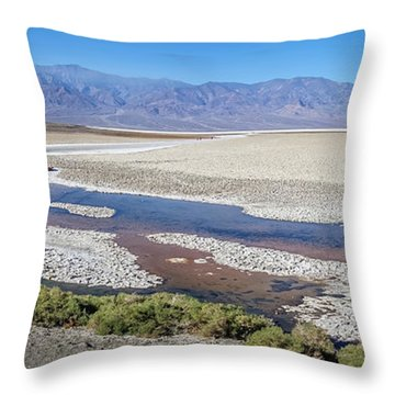 Throw Pillow featuring the photograph Badwater Basin Death Valley National Park California by Alex Grichenko