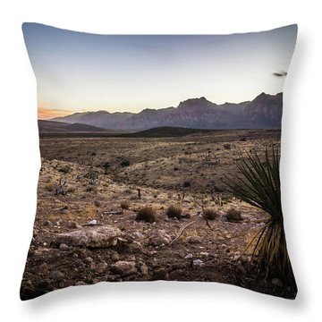 Throw Pillow featuring the photograph Red Rock Canyon Las Vegas Nevada At Sunset by Alex Grichenko