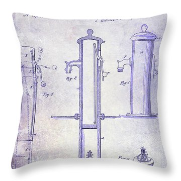 1858 Fire Hydrant Blueprint Throw Pillow