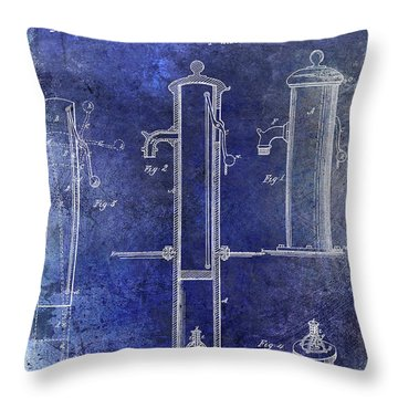 1858 Fire Hydrant Patent Blue Throw Pillow