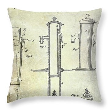 1858 Fire Hydrant Patent Throw Pillow