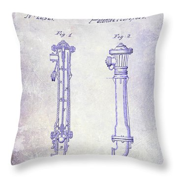 1859 Fire Hydrant Patent Blueprint Throw Pillow