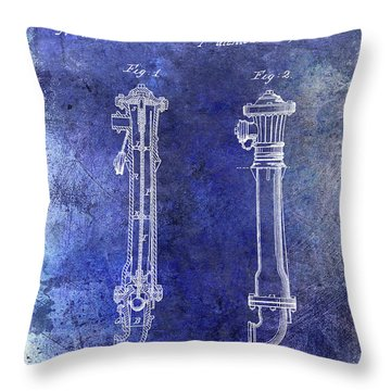 1859 Hire Hydrant Patent Blue Throw Pillow