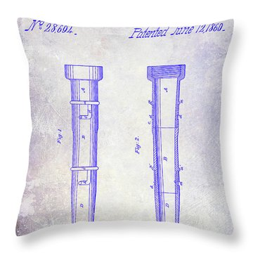 1860 Fire Hose Nozzle Patent Blueprint Throw Pillow