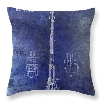 1871 Fire Hose Elevator Patent Blue Throw Pillow