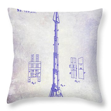 1871 Fire Hose Elevator Patent Blueprint  Throw Pillow