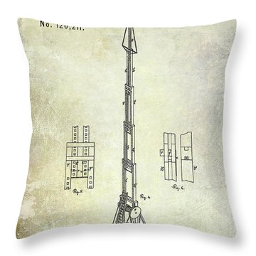 1871 Fire Hose Elevator Patent Throw Pillow