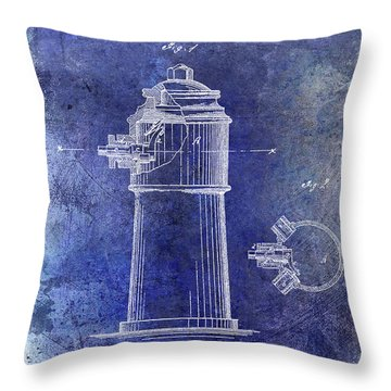 1871 Fire Hydrant Patent Blue Throw Pillow
