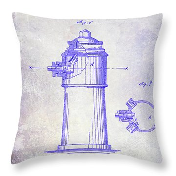 1871 Fire Hydrant Patent Blueprint Throw Pillow