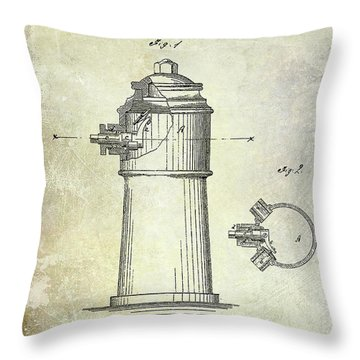 1871 Fire Hydrant Patent Throw Pillow