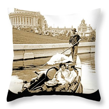1904 Worlds Fair, Sighteeing Boat, Oarsman And Couple Throw Pillow
