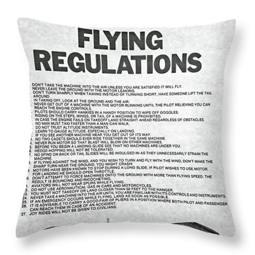 1919 Flying Regulations Poster Throw Pillow