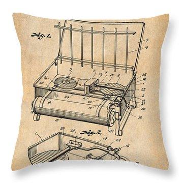 1924 Coleman Camp Stove Antique Paper Patent Print Throw Pillow