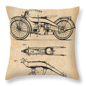1924 Harley Davidson Motorcycle Patent Print Antique Paper Throw Pillow