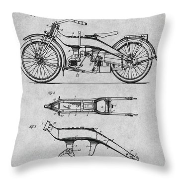 1924 Harley Davidson Motorcycle Patent Print Gray Throw Pillow