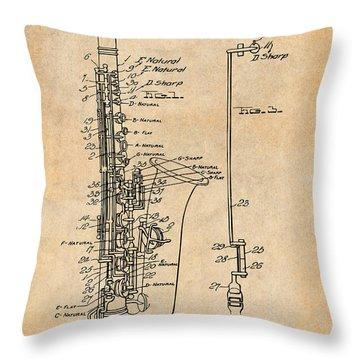 1924 Saxophone Antique Paper Patent Print Throw Pillow