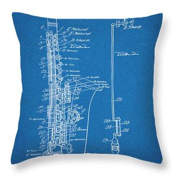 1924 Saxophone Blueprint Patent Print Throw Pillow