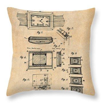 1930 Leon Hatot Self Winding Watch Patent Print Antique Paper Throw Pillow