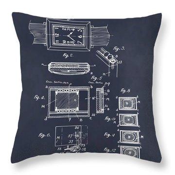 1930 Leon Hatot Self Winding Watch Patent Print Blackboard Throw Pillow
