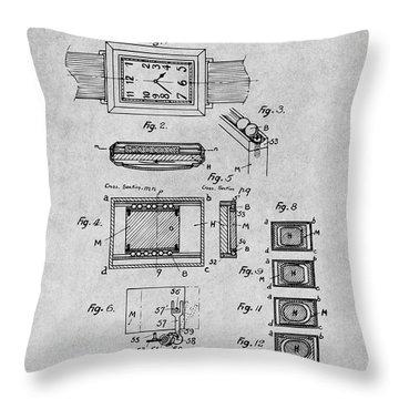 1930 Leon Hatot Self Winding Watch Patent Print Gray Throw Pillow