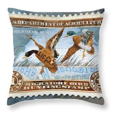 1934 Hunting Stamp Collage Throw Pillow