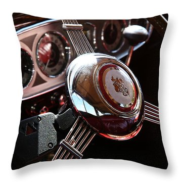Throw Pillow featuring the photograph 1937 Vintage Model 1508 Steering Wheel by Debi Dalio