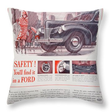 1940 Ford Automobile Ad Throw Pillow