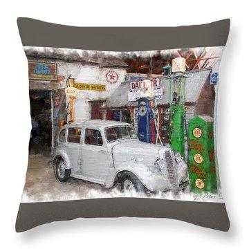 1950s Garage Throw Pillow