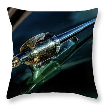Throw Pillow featuring the photograph 1951 Kaiser Deluxe Traveler Hood Oranament by Onyonet  Photo Studios