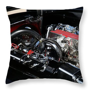 Throw Pillow featuring the photograph 1957 Chevrolet Corvette Engine by Debi Dalio