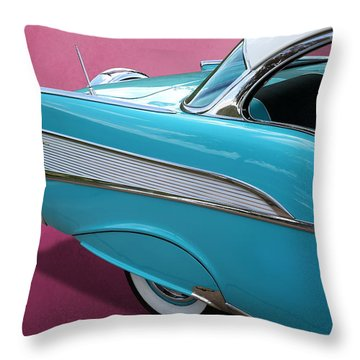 Throw Pillow featuring the photograph Turquoise 1957 Chevrolet Bel Air by Debi Dalio