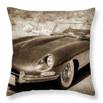Throw Pillow featuring the photograph 1963 Jaguar Xke Roadster-111scl by Jill Reger