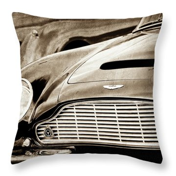 Throw Pillow featuring the photograph 1965 Aston Martin Db6 Short Chassis Volante Grille-0970s2 by Jill Reger