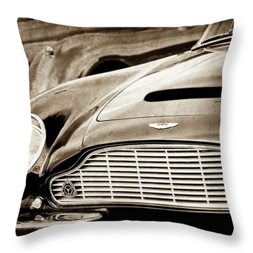 Throw Pillow featuring the photograph 1965 Aston Martin Db6 Short Chassis Volante Grille-0970scl by Jill Reger