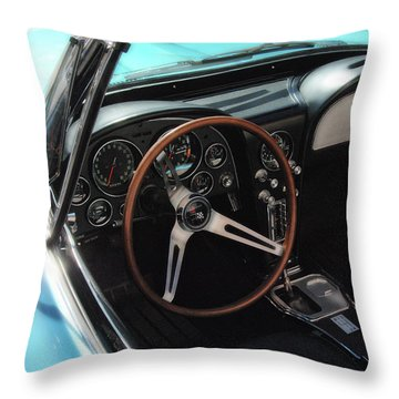 Throw Pillow featuring the photograph 1965 Chevrolet Corvette Convertible - Driver Side by Angie Tirado
