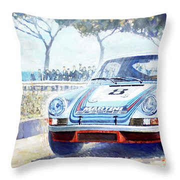 1973 Targa Floria Porsche 911 Carrera Rsr Martini Racing Lennep Muller Winner  Throw Pillow