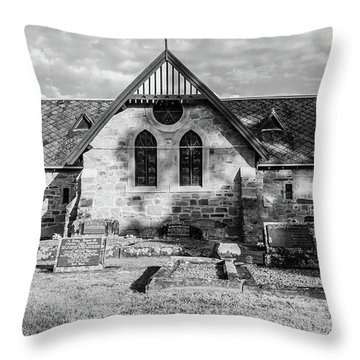 19th Century Sandstone Church In Black And White Throw Pillow
