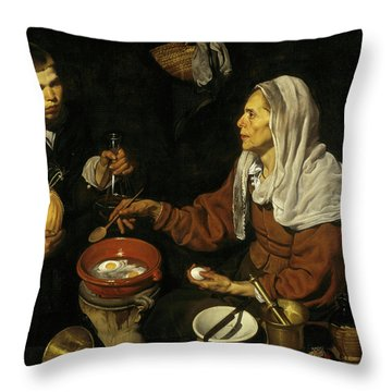 An Old Woman Cooking Eggs Throw Pillow
