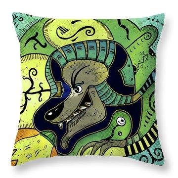 Throw Pillow featuring the digital art Anubis by Sotuland Art