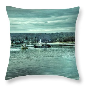Boats At Northport Harbor Throw Pillow