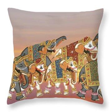 Caparisoned Elephants   Throw Pillow