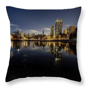 Chicago Skyline At Dawn  Throw Pillow